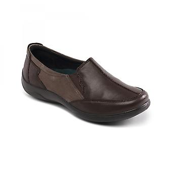 Padders Flute Ladies Leather Extra Wide (2e/3e) Shoes Brown