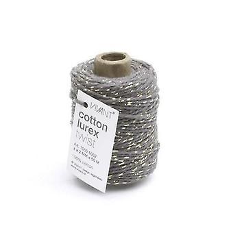 Vivant Cord Cotton Lurex Twist dark grey / gold - 50 MT 2MM