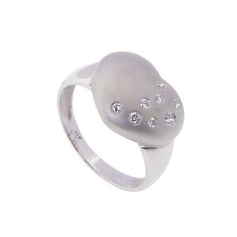 White gold hearts ring with diamonds