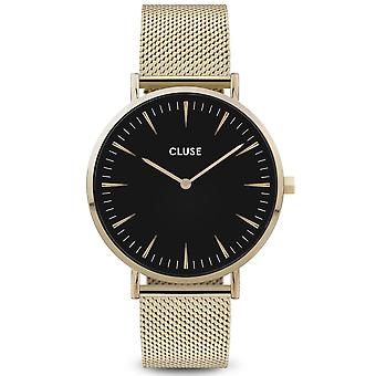 Cluse Watches Cw0101201014 La Boheme Black Dial & Gold Mesh Ladies Watch