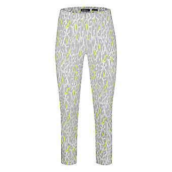 Robell Bella Animal Print Trouser in Grey and Neon