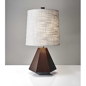 """10.5"""" X 10.5"""" X 25"""" Walnut Wood Fabric Table Lamp"""
