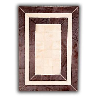 Rugs -Patchwork Leather Cubed Cowhide - SR2 Brown & Light Beige