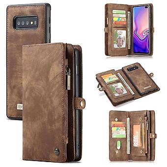 CaseMe Vintage Wallet Case Hoesje Samsung Galaxy S10 - Bruin