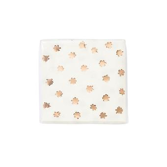 Party Porcelain Napkins White with Rose Gold Napkin x 16