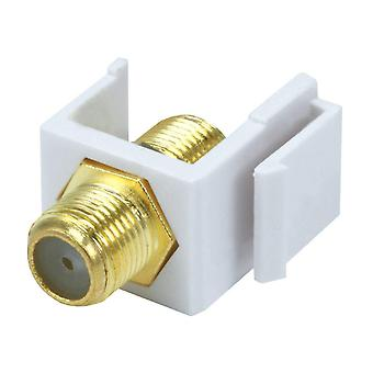 Keystone Jack - Modular F Type (Hvid) - (Ingen logo) Til brug med Keystone paneler eller vægplader af Monoprice