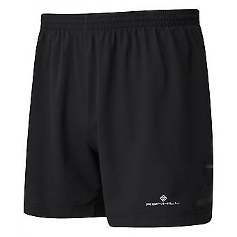 """Ronhill Mens Stride 5"""" Breathable & Relaxed Fit Running Shorts All Black"""