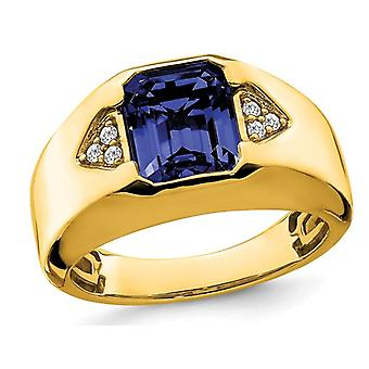 Mens 3.75 Carat (ctw) Lab Created Blue Sapphire Ring in 14K Yellow Gold with Diamonds
