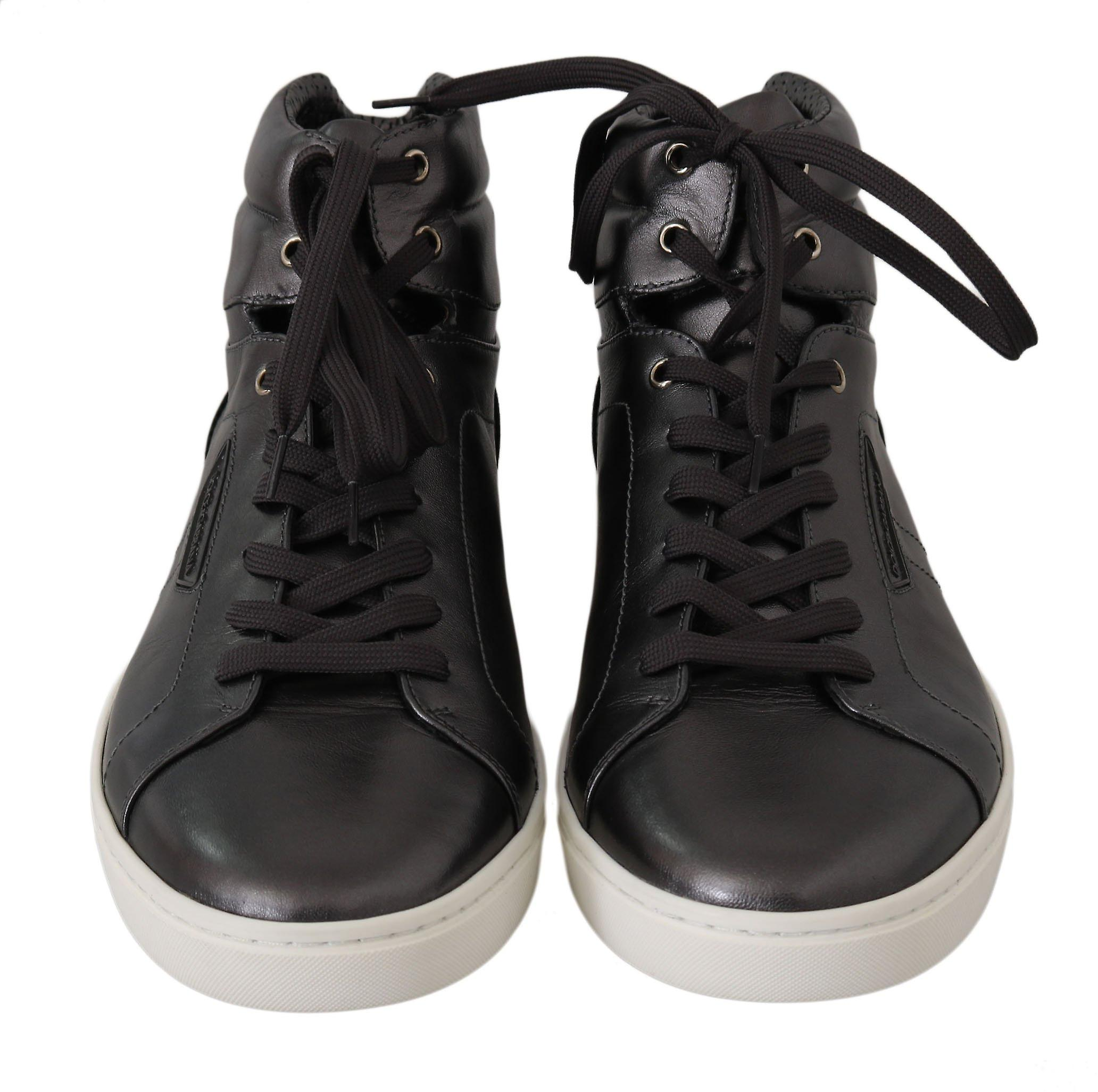 Dolce & Gabbana Gray Leather Mens High Top Sneakers Mv2341-39