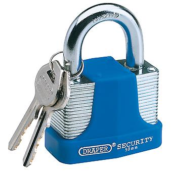 Draper 64183 65mm Laminated Steel Padlock & 2 Keys with Hardened Steel Shackle