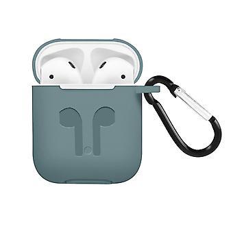 Apple AirPods (1. und 2. Gen) Silikon Schutzhülle mit Karabinerhaken – Grau