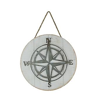 Galvanized Metal and Wood Compass Rose Wall Hanging 14 Inch Diameter