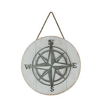 Galvaniserad metall och trä kompass Rose Vägghängning 14 tums diameter