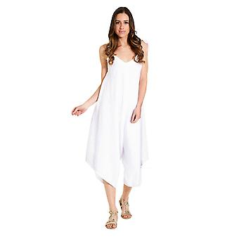 Ladies lightweight linen culotte dress - white one size loose fit