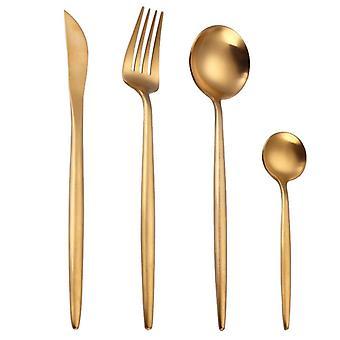 Lingeafey tacâmuri din oțel inoxidabil Set de aur de vest Set din oțel inoxidabil