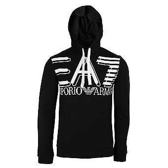 Ea7 emporio armani men's black logo hoodie
