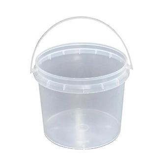 10x Buckets Plastic Empty Clear Food Grade Lid Handle Storage Tub