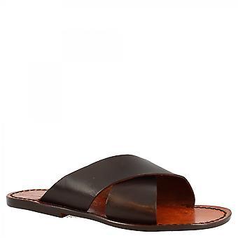 Leonardo Kengät Miehet&s käsintehty tasainen dia sandaalit suuri ristissä bändejä tummanruskea vasikka nahka