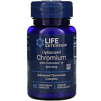 Extensión de vida, cromo optimizado con Crominex 3+, 500 mcg, 60 tapas vegetarianas