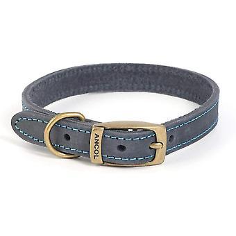 Ancol Timberwolf Leather Collar - Blue - 18 inch