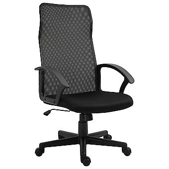 Vinsetto Executive High Mesh Back Office Chair w/ Fixed Armrests Adjustable Height Wheels Wide Padded Seat Home Work Comfort Support Black