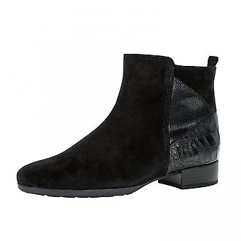 Gabor Bastia Suede Ankle Boot In Black