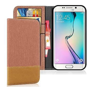 Denim Mobile Shell for Samsung Galaxy S6 Edge Leatherette Mobile Protection Jeans Protection