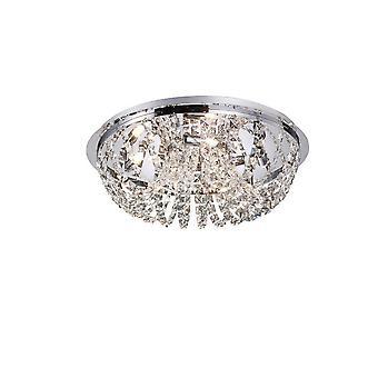 inspirert diyas - kosmos - flush tak 5 lys polert krom, krystall
