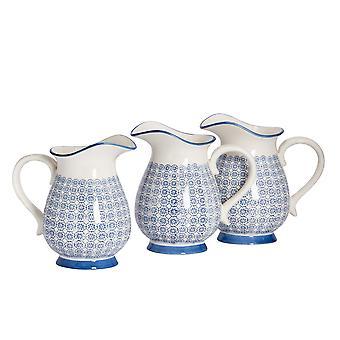 Nicola Spring 6 Piece Hand-Printed Water Jug Set - Japanese Style Porcelain Serving Pitcher Flower Vase - Navy - 2.2L