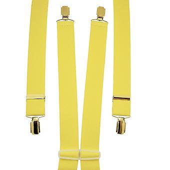 Ties Planet Plain Yellow Men's Trouser Braces - Clip d'oro