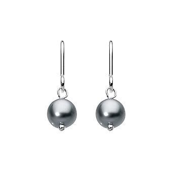 Dew plata negro agua dulce botón perla 5.5mm Gota Pendientes 5012BP