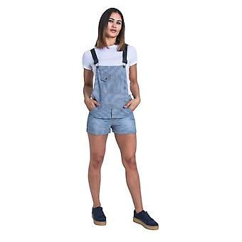 Imogen womens dungaree shorts - hickory stripe