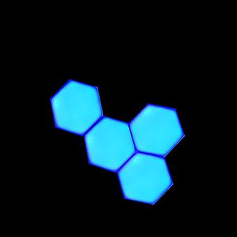 Blue Led Honeycomb Quantum Hexagon Wall Lamp With Touch Sensitive - Decorative Night Light
