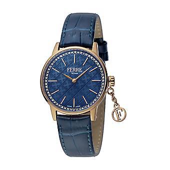 Ferre Milano Women's FM1L103L0031 Rose-Gold IP Steel Blue Leather Wristwatch