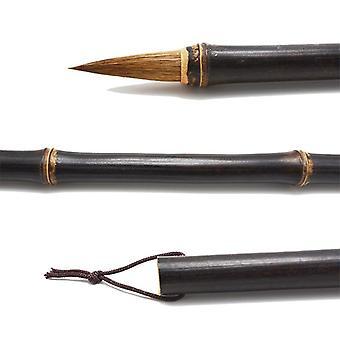 Kinesisk Maleri Brush, Natural Bamboo Pole, Horse Hair Regular Script, Skrivning