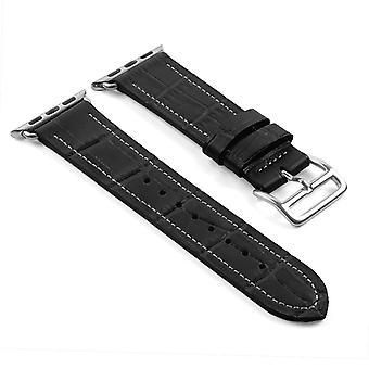 Strapsco dassari croc embossed leather strap w/ hermes buckle style for apple watch