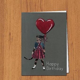 Happy Birthday Cat With Heart Balloon Card