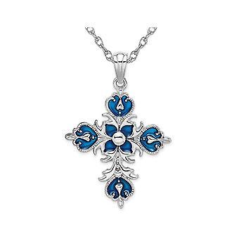 Sterling Silver Fleur de Lis Blue Cross Pendant Necklace with Chain