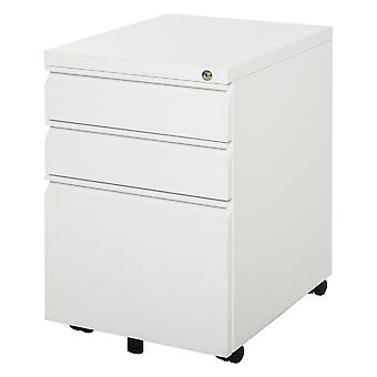 Vinsetto Mobile Vertical File Cabinet Lockable Metal Filling Cabinet with 3 Drawers and Anti-tilt Design