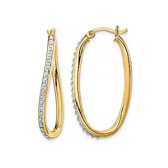 Diamond Accent Oval Hoop Twist Earrings in Sterling Silver and 14K Yellow Gold (1 1/3 Inch)