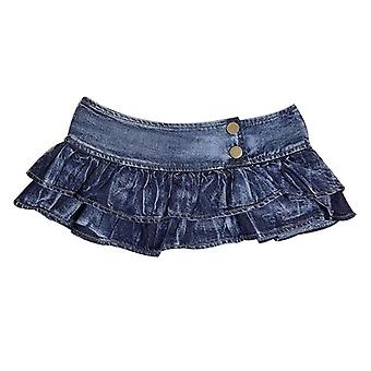 Πτυχωμένο Σούπερ Μίνι denim φούστες χαμηλή μέση μια γραμμή Bud Στερεά Night Club Κόμμα