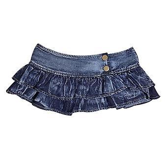 Plisowany Super Mini Jeans spódnice niska talia wiersz bud solid klub nocny impreza