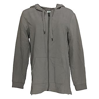 Denim & Co. Women's Active French Terry Hooded Tunic w/ Slits Gray A374648