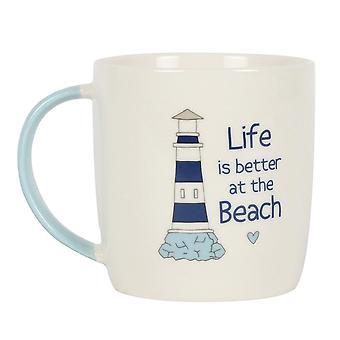 Algo diferente Vida é melhor na caneca da praia