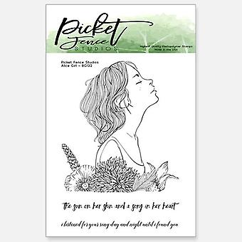 Picket Fence Studios Alice Girl 3x4 Inch Clear Stamps