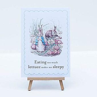 Peter Rabbit kort och staffli 'Äta för mycket sallad' part dekoration tecken
