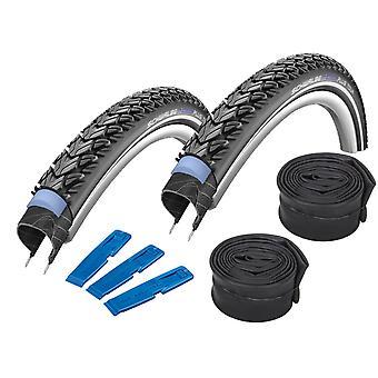Velo.Set 2 x Schwalbe Marathon Plus Tour Tires /RR/ 47-622 (28×1.75) + Hoses
