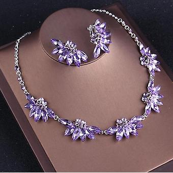 Noble Purple Crystal Bridal Jewelry Sets, Necklaces, Earrings, Crown, Tiaras