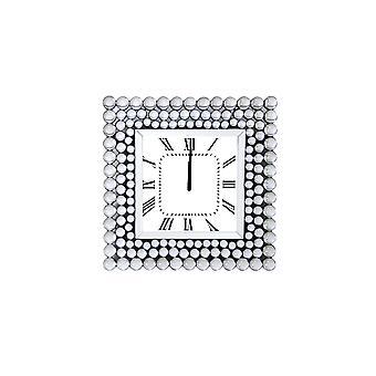Gespiegelte Wanduhr In quadratischer Form, weiß