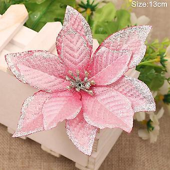 נצנצים פרחים מלאכותיים, קישוטים עליזים עץ חג המולד